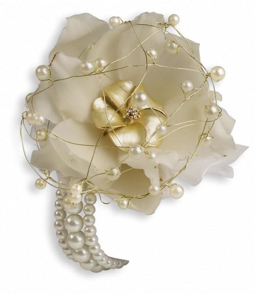 Custom -Shimmering Pearls Wrist Corsage