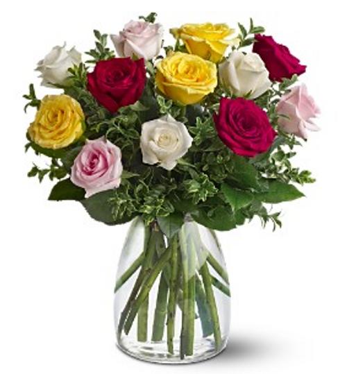 A Dozen Mixed Color Roses