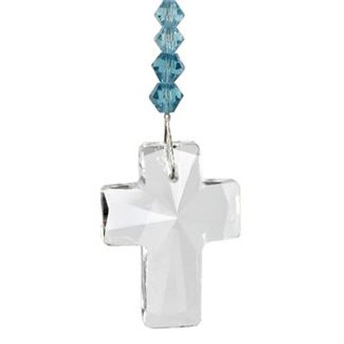 Crystal Cross Suncatcher- Aquamarine