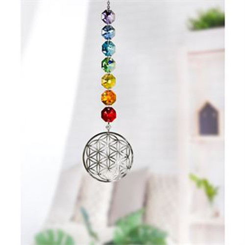 Crystal Radiance Cascade Suncatcher - Flower of Life