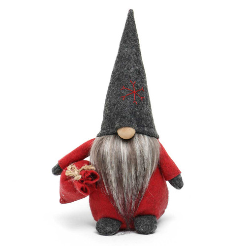 """9"""" TOMTE GNOME WITH DARK GREY HAT AND BAG"""