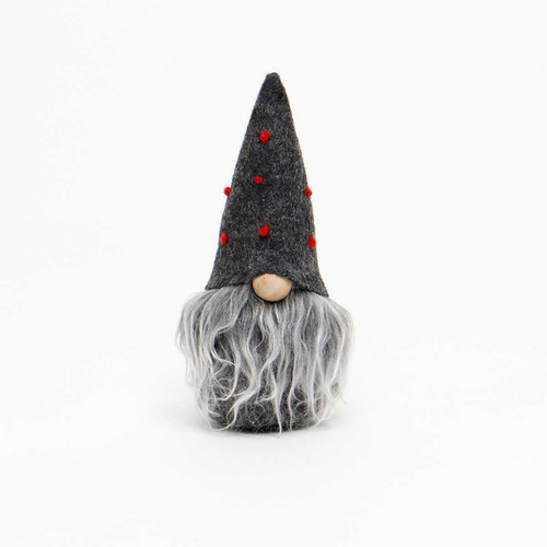 "5.5"" MINI GNOME GRAY HAT WITH RED DOTS ORNAMENT"