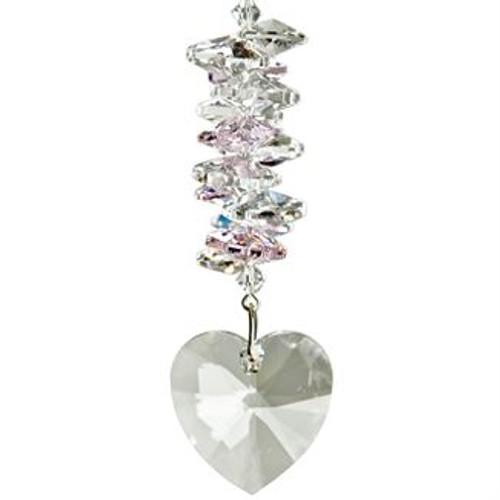 Crystal Heart Cascade Suncatcher - Rose
