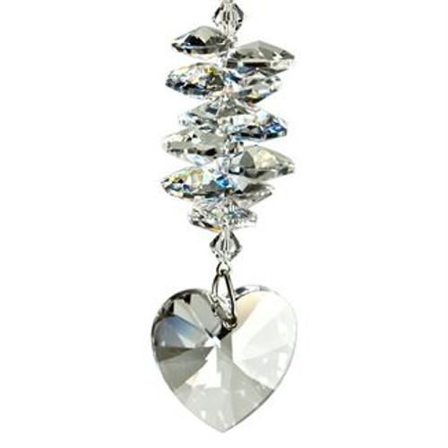 Crystal Heart Cascade Suncatcher - Ice