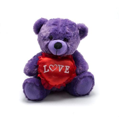 "9"" Purple Valentine Bear with Love Heart"