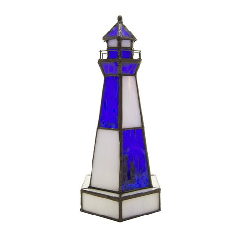 """10.4""""H Camden Stained Glass Lighthouse Accent Lamp"""