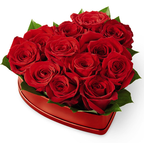 Lovely Red Rose Heart Box
