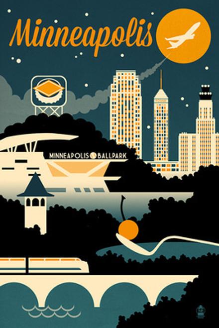 TOWEL Minneapolis, Minnesota Retro Skyline