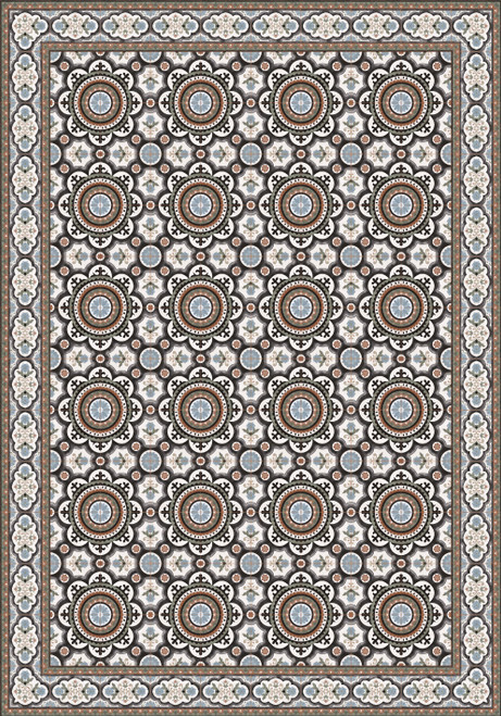 Tile Look Vinyl Placemat Rigid -Set of 6-Jasmine_C