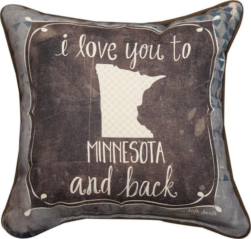 I Love You to Minnesota and Back Throw  Pillow