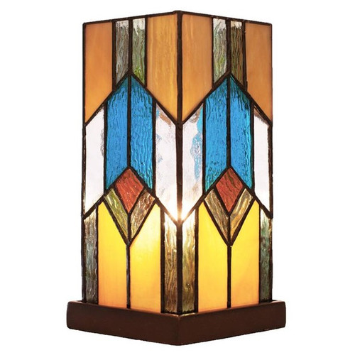 """10.5""""H Stained Glass Mission Uplight Accent Lamp"""