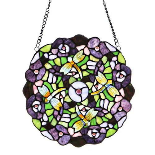 """12""""H Tiffany Style Stained Glass Purple Pansy Window Panel"""