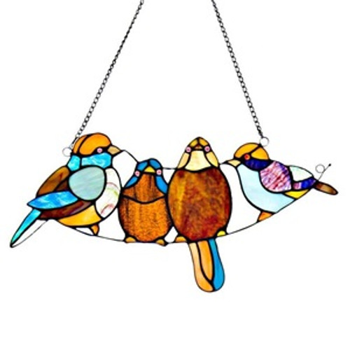 """8""""H Stained Glass Song Bird Window Panel"""