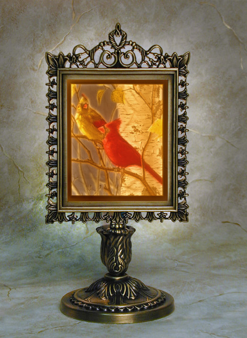 Cardinals Colored Lithophane  Victorian Stand Accent Lamp