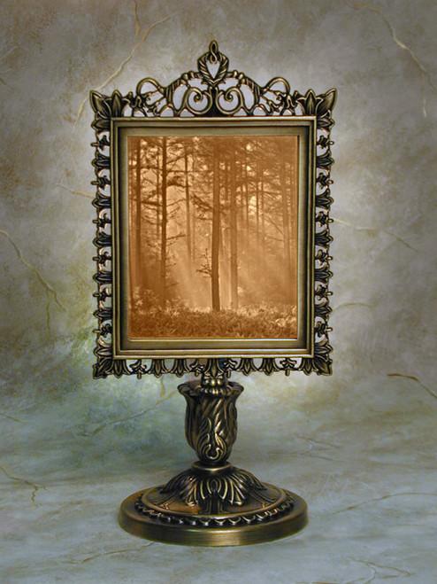 "9"" Woodland Sunbeam Lithoplane Victorian Stand Accent Lamp"