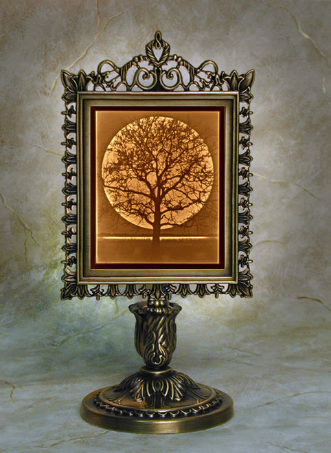 """9"""" Midnight Moon Lithoplane Victorian Stand Accent Lamp"""