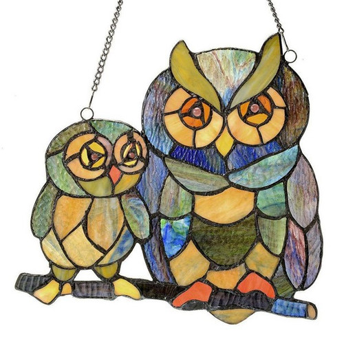 """11"""" Tiffany Style  Stained Glass Owl Window Panel"""