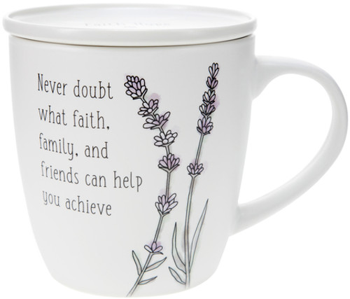 Never doubt what faith, family, and friends can help you achieve -17 oz with Coaster Lid