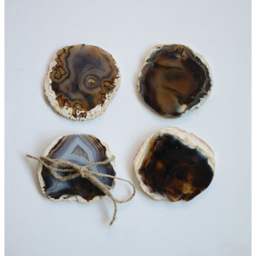 """4"""" Round Agate Stone Coasters (Set of 4)  by Creative Co-op"""