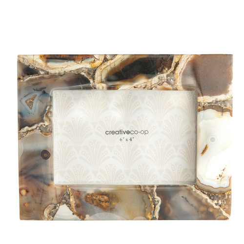 """9"""" X 7"""" Natural Agate Photo Frame  by Creative Co-op"""