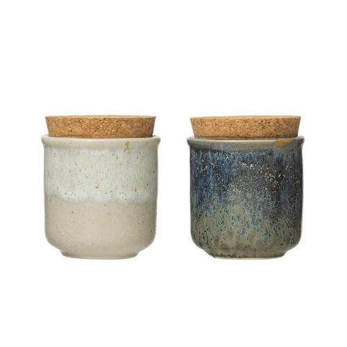 """3"""" Stoneware Jar w/ Cork Lid, Reactive Glaze, Set of 2 by Creative Co-op (Sold Seperatly)"""