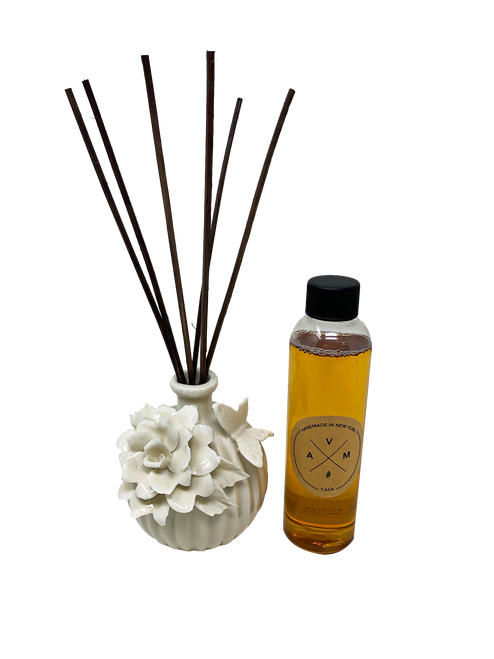 """3"""" Porcelain Diffuser of Scented Reeds including 5.5 oz Essential Oil (4 Styles)"""