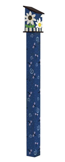 Daisy Blues 6' Birdhouse Art Pole