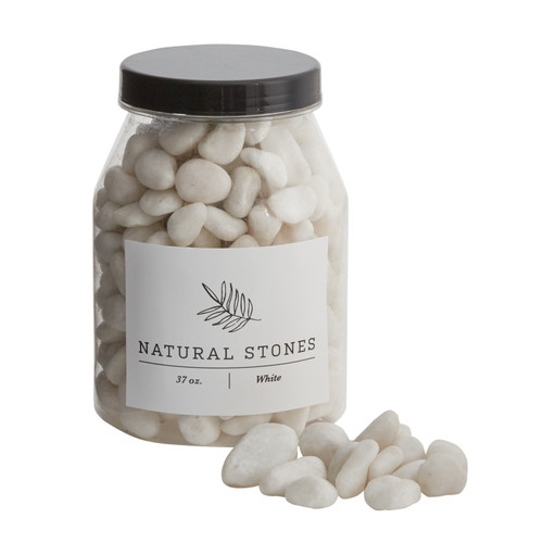 Jar of Natural White Stones  by Accent Decor