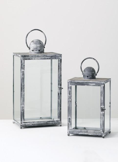 Glass and Metal Lanterns  Set of 2