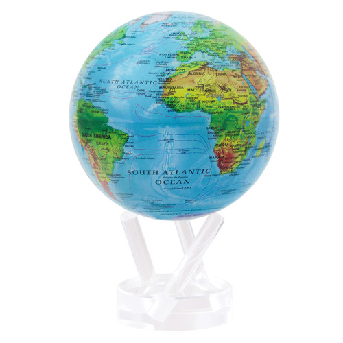 """4.5"""" Self Turning Blue Relief  Globe with Acrylic Base by Mova"""