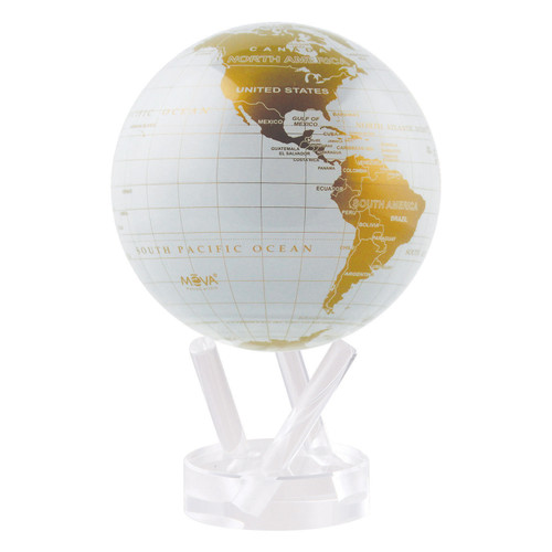 """4.5"""" Self Turning White and Gold  Globe with Acrylic Base by Mova"""