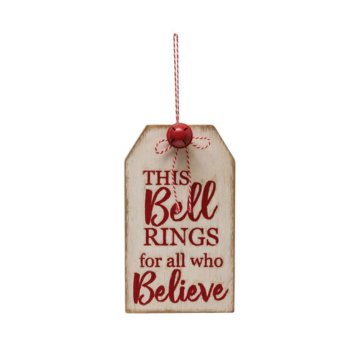 """12""""H Wood Tag Wall Décor""""This Bell Rings…Believe"""""""