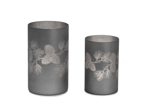 Grey/Silver Pine Cone Candle Holder  - Set of Two