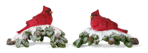 """6"""" Resin Cardinals on Branch - Set of Two"""