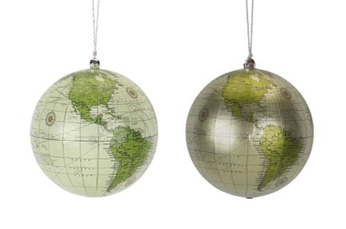 "4.5"" Globe Sage Green Ornament - Set of 2"