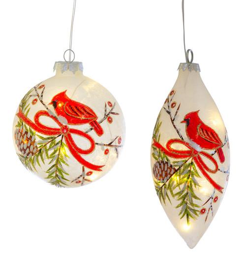 "7"" LED Cardinal Glass Ornaments - Set of 2"