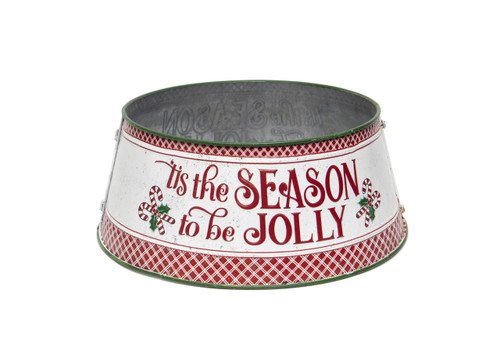 """22.5"""" Metal Tree Skirt with Clasp - Hand Painted """"Tis the Season"""""""