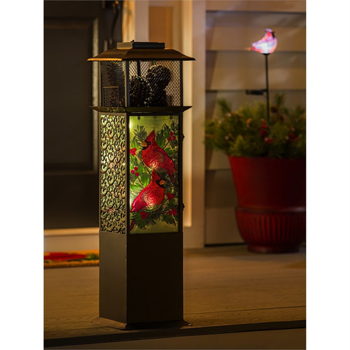 Solar Glass Panel Statement Lantern, Cardinals with Spruce and Berries