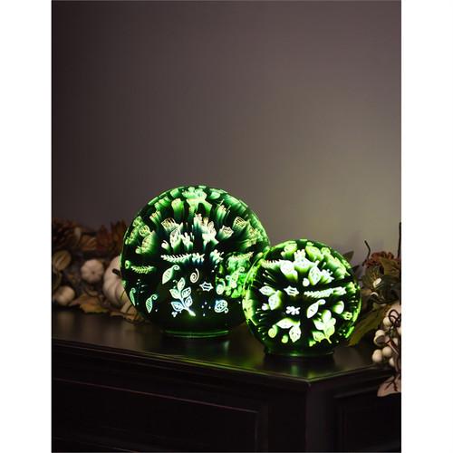 Stargazing 8'' LED Orb, Scattered Leaves (Set of 2)