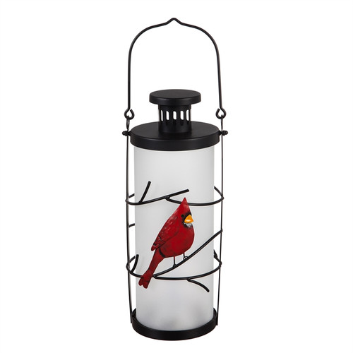 Frosted Glass Battery Operated Fire Flame Glass Lantern, Cardinal