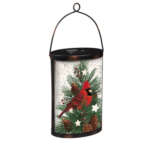 Hand Painted Solar Glass Lantern, Cardinal and Winter Spruce