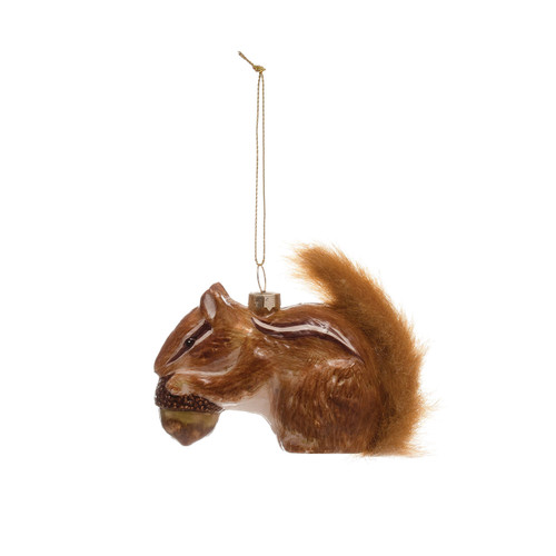 """3""""H Glass Squirrel Ornament w/ Furry Tail"""