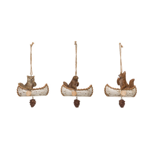 """4""""H Resin Animal in Canoe Ornament w/ Pinecone Dangle, 3 Styles- Set of 3"""