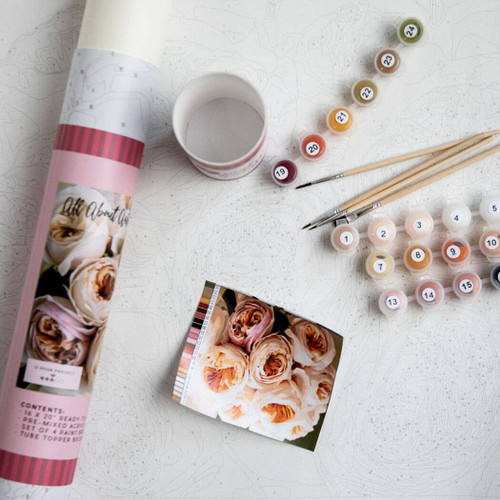 All About Austin Roses Printed Canvas ~Paint by Numbers Kit