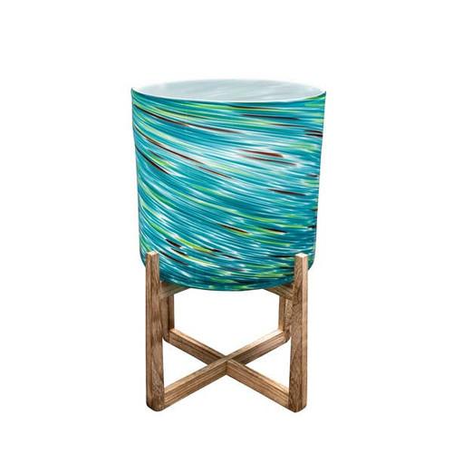 "12"" Hand Blown Art Glass Planter on Wood Stand - Amazingly Beautiful!"