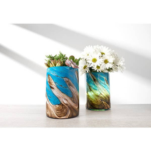 Hand Blown Art Glass Self Watering Planter with LED Light & Timer