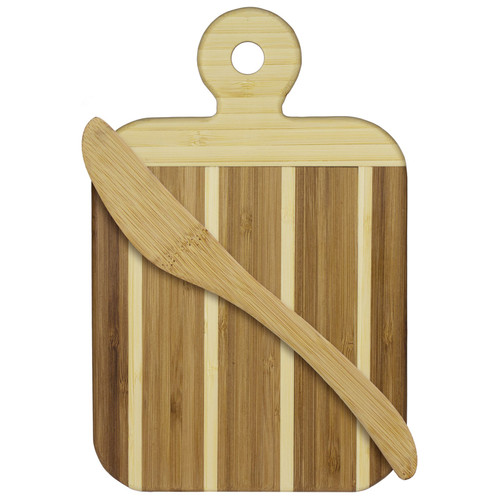 Striped Paddle Serving & Cutting Board & Spreader Knife Gift Set