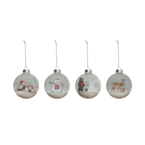 """4"""" Round Glass Ball Ornament w/ Animal Image & Faux Snow, 4   Styles - Set of"""