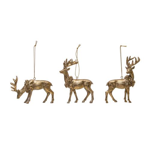 "4-3/4""H Resin Deer w/ Wreath Ornament, Gold Finish, Set of 3"