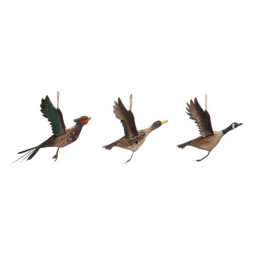 "6-1/4""L Pine Wood Ducks in Flight -- Set of 3"